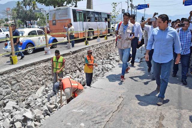 Supervisa Evodio trabajos de rehabilitación de la avenida 5 de Mayo