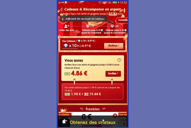 Application e-commerce Vova qui paye de l'argent aux utilisateurs