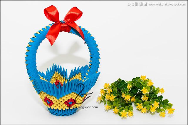 548. Koszyczek na Wielkanoc / 3d origami basket