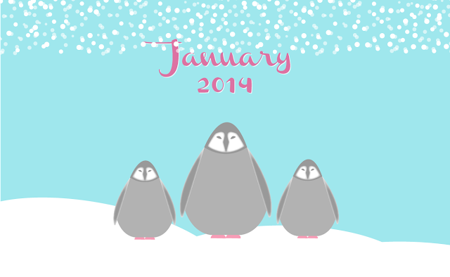 Free January Penguin Desktop Wallpaper