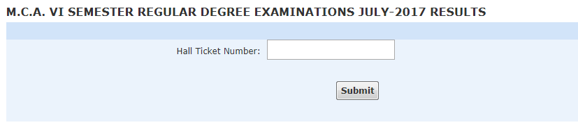 Acharya Nagarjuna University ANU MCA Exam Results 2017