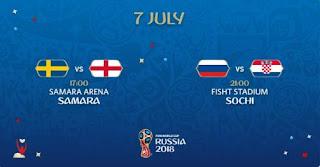 Jadwal Piala Dunia Sabtu 7 Juli 2018: Swedia Vs Inggris, Rusia Vs Kroasia