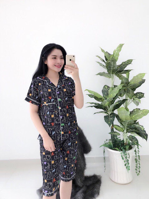 Đồ bộ pijama lửng satin tuyệt đẹp giá sỉ Tây Ninh