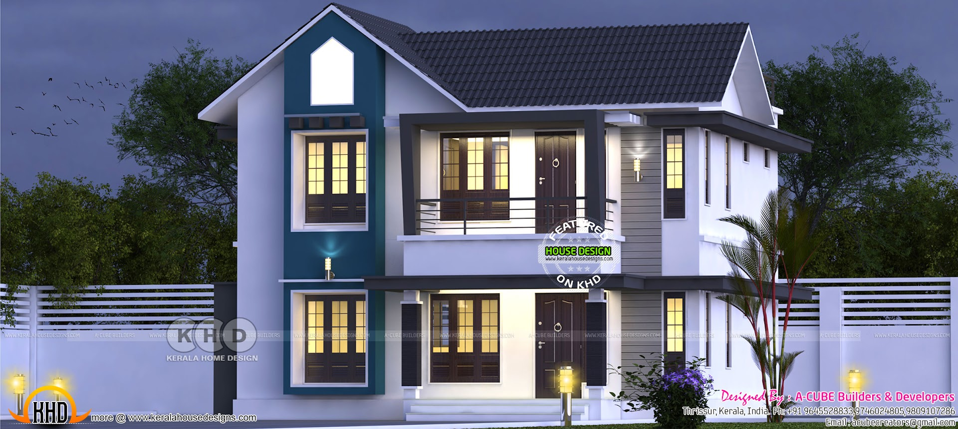 Sloped Roof Modern House 1572 Sq Ft Kerala Home Design And Floor Plans 8000 Houses