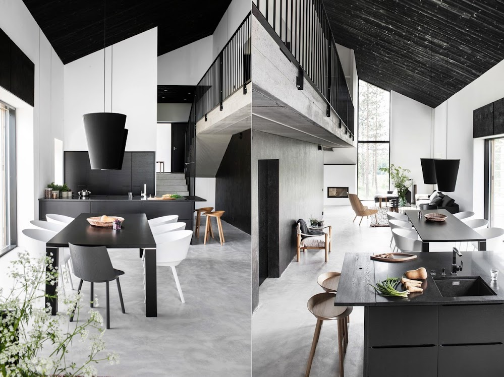 black-and-white-dining-room