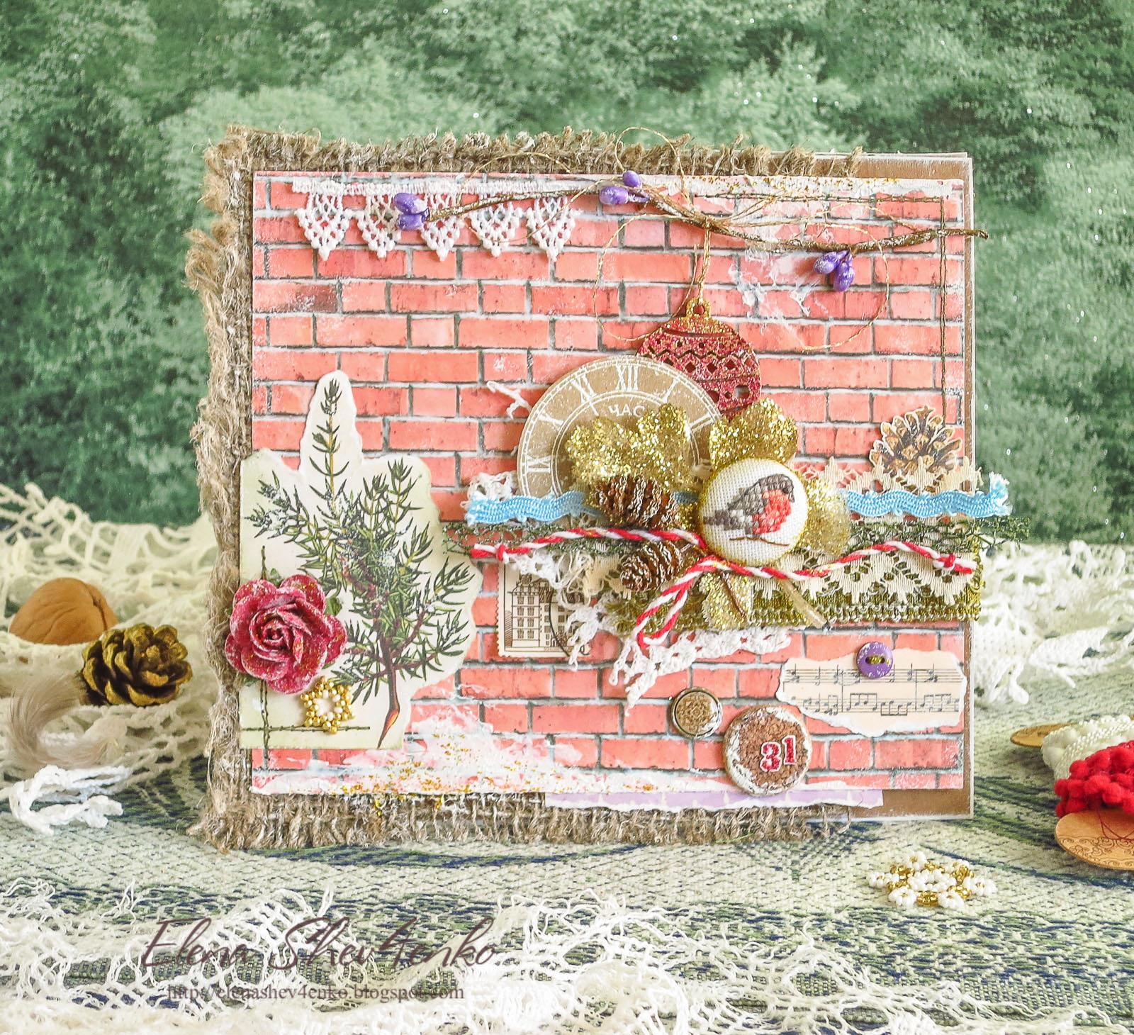 новогодняя открытка, снегирь, кардмейкинг, снігур, cardmaking, new year scrapbooking