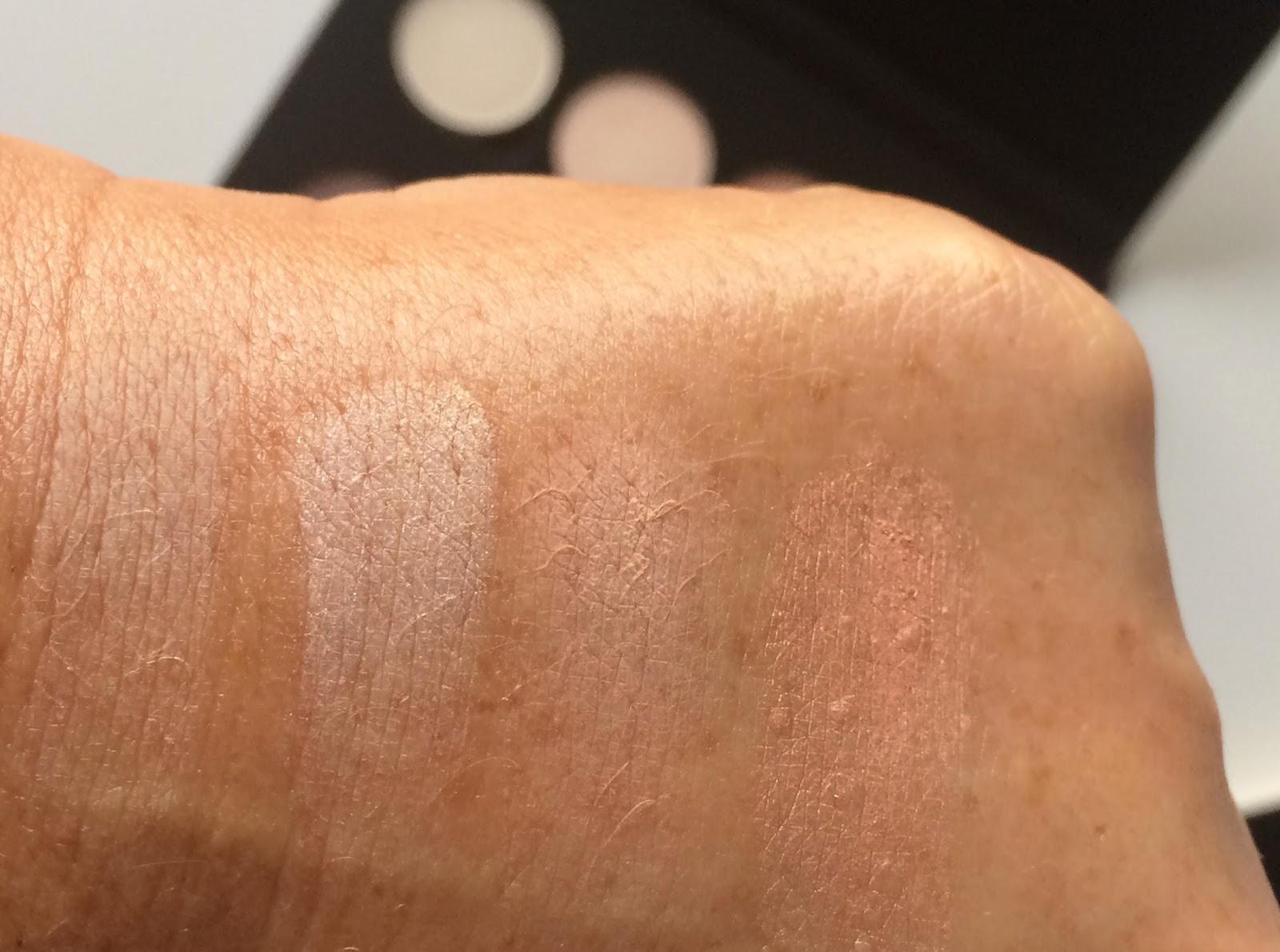 Anastasia Beverly Hills Single Eyeshadow Bone, Bling, Cream, Gem swatches