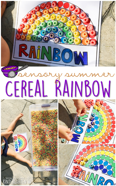 Practice fine motor skills and colors with this cereal filled sensory bin! This is a perfect activity for summer tot school, preschool, or kindergarten!