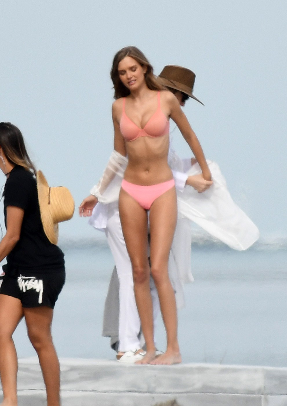 Josephine Skriver found herself at the beach without a standard sexy-as-hell swimsuit, so instead ... she went with the pretty-in-pink lingerie look.