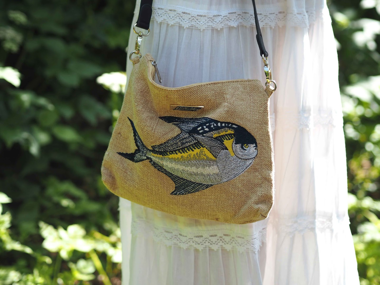Embroidered pomfret fish, Slouchy pouch, Louelle Odie