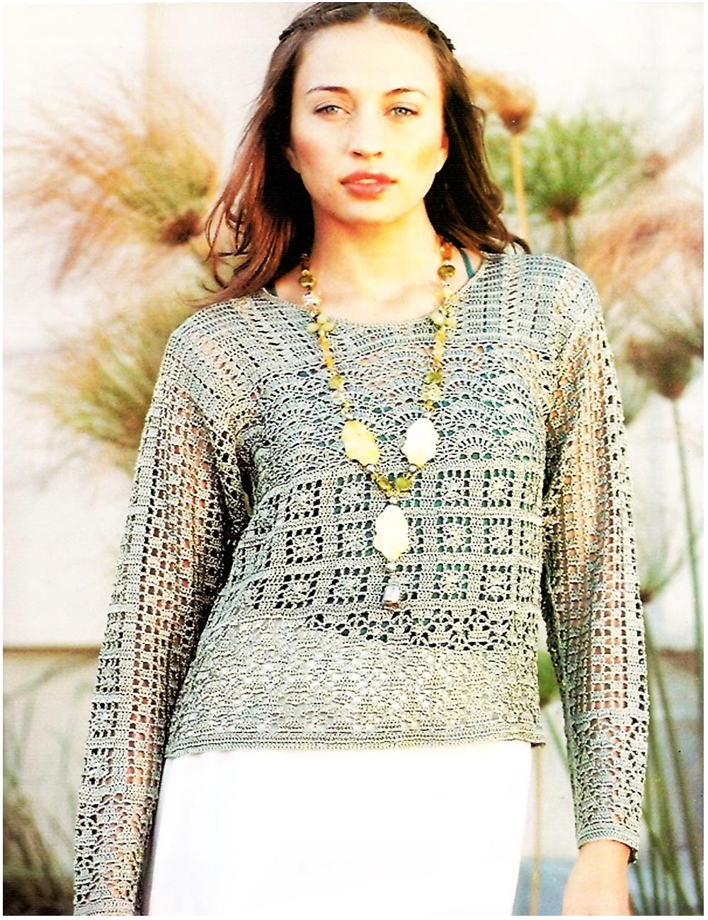 pulover, jersey, ganchillo, crochet, gráfico, patrón
