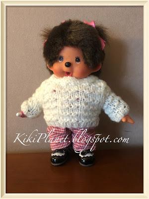 kiki monchhichi vêtement pull tricot knitting poupée doll fait main handmade