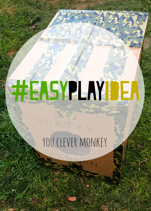 Cardboard Vortex Cannon - simple physics fun for everyone! The latest post in our #easyplayidea series - using simple resources found at home, re-create these easy play invitations for your children to make and play these holidays. Visit www.youclevermonkey.com or #easyplayidea on Instagram to follow along!