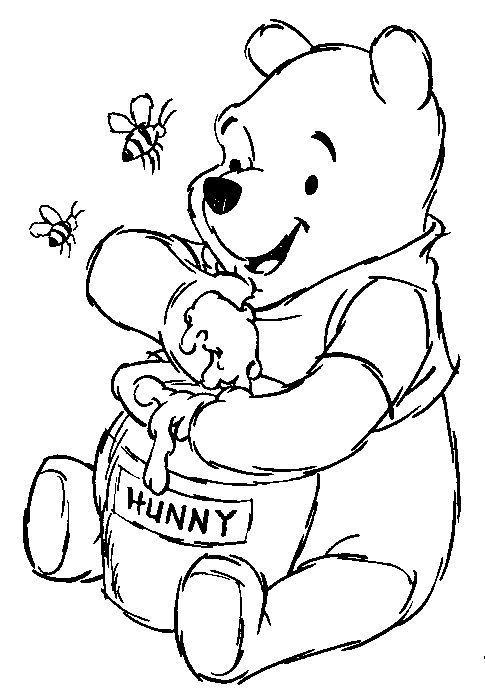 Tranh cho bé tô màu gấu Pooh