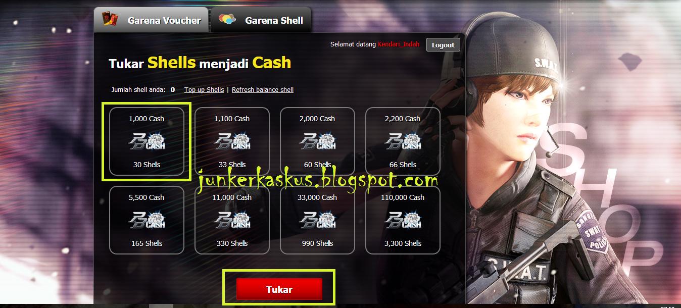 2016 Junker Kaskus Garena 50000 Klik Tab Shell Lalu Pilih Jumlah Yang Ingin Anda Tukar Misalnya 30 Shells Setara Dengan 1000 Cash 33 1100