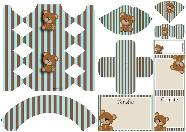 Bear in Brown and Light Blue: Free Printable Invitations, Boxes and Free Party Printables.
