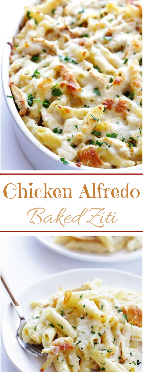 Chicken Alfredo Baked Ziti #pasta #dinner