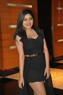 Telugu Actress Model Madhulagna Das Latest Spicy Stills in Black Short Dress  0004.JPG