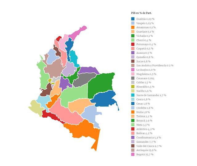 mapa económico de la participación departamentos en el PIB de Colombia