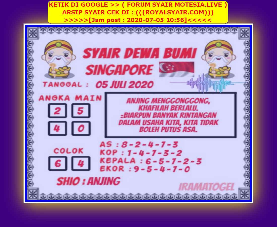 Kode syair Singapore Minggu 5 Juli 2020 119