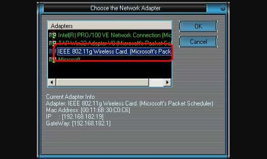 choise network adapter