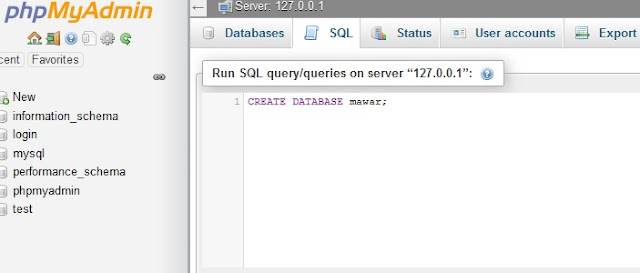 Membuat database dengan Query