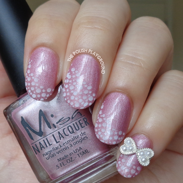 Pink Shimmer with White Bubbles Stamping and Bow Stud Nail Art