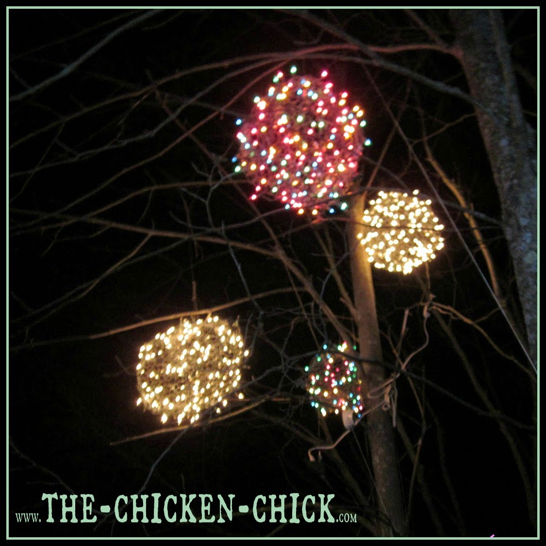 The chicken chick chicken wire lighted christmas balls for Outside christmas balls