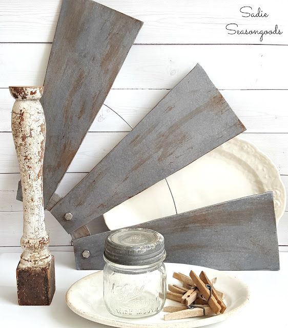 farmhouse windmill made from ceiling fan blades