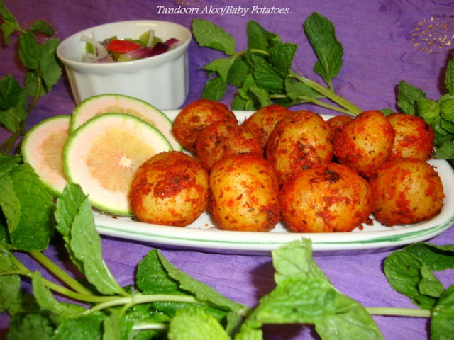 images for Tandoori Aloo Recipe / Oven Baked Spicy Potatoes / Baked Baby Potatoes Recipe