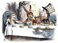 Illustration of Alice with the rabbit and the Mad Hatter at a table