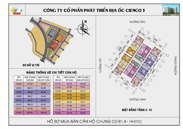 Sơ đồ tổng thể chung cư B1.4 HH01C dự án Thanh Hà Cienco 5