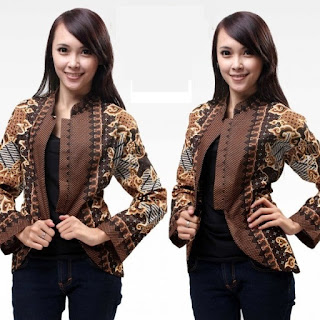 Model Baju Batik Kantor Kombinasi Caerdigan