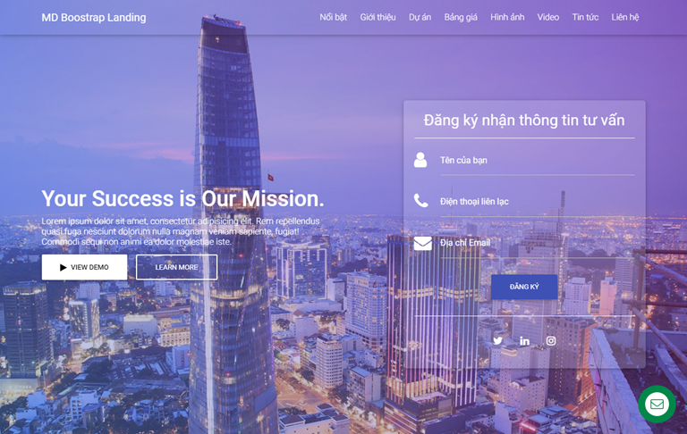 Material Design Bootstrap Landing Page Blogger Template
