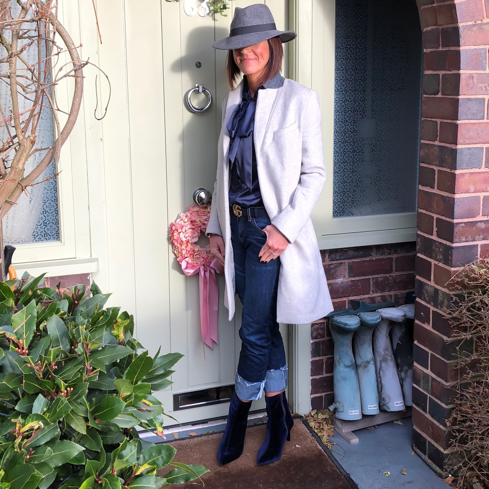 my midlife fashion, hawes & curtis navy fitted luxury satin pussy bow blouse, hush boyfriend turn up jeans, great plains nipper wool coat, gucci leather belt, marks and spencer stiletto heel size zip ankle boots, zara felt fedora hat