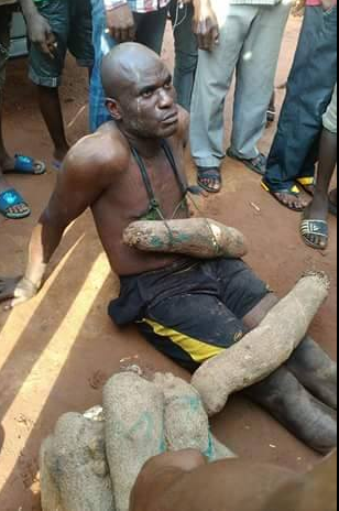 Man caught stealing yam at Onitsha main market (photo)