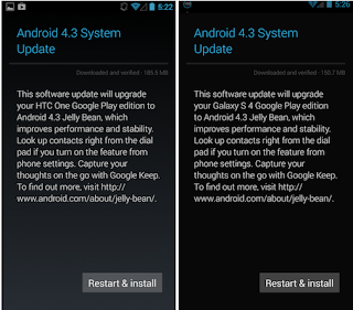 Google Play versions tin upgrade to Android  Google update Android 4.3  for HTC One, Milky Way southward iv Google Play Edition