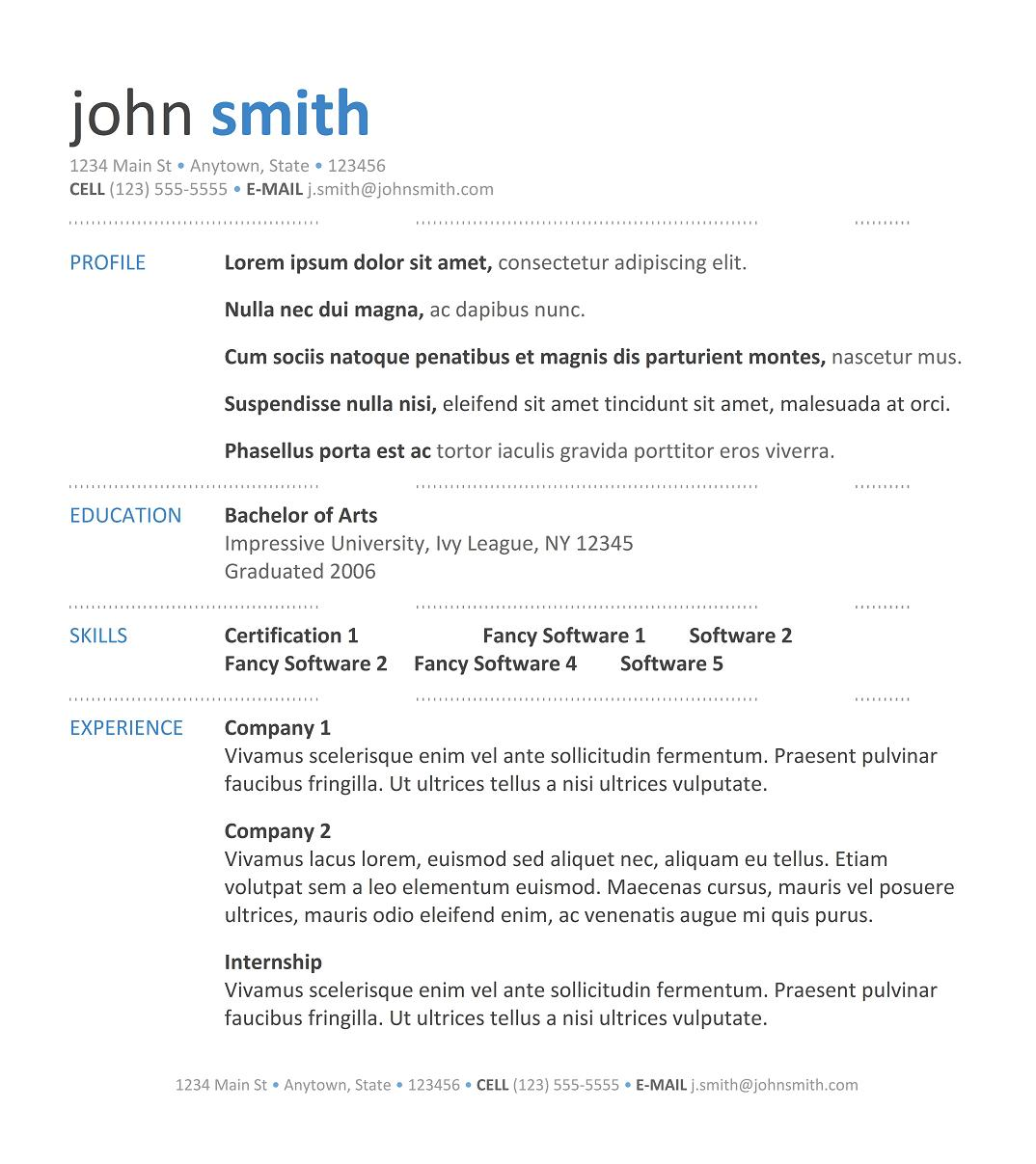 sample templates for resumes