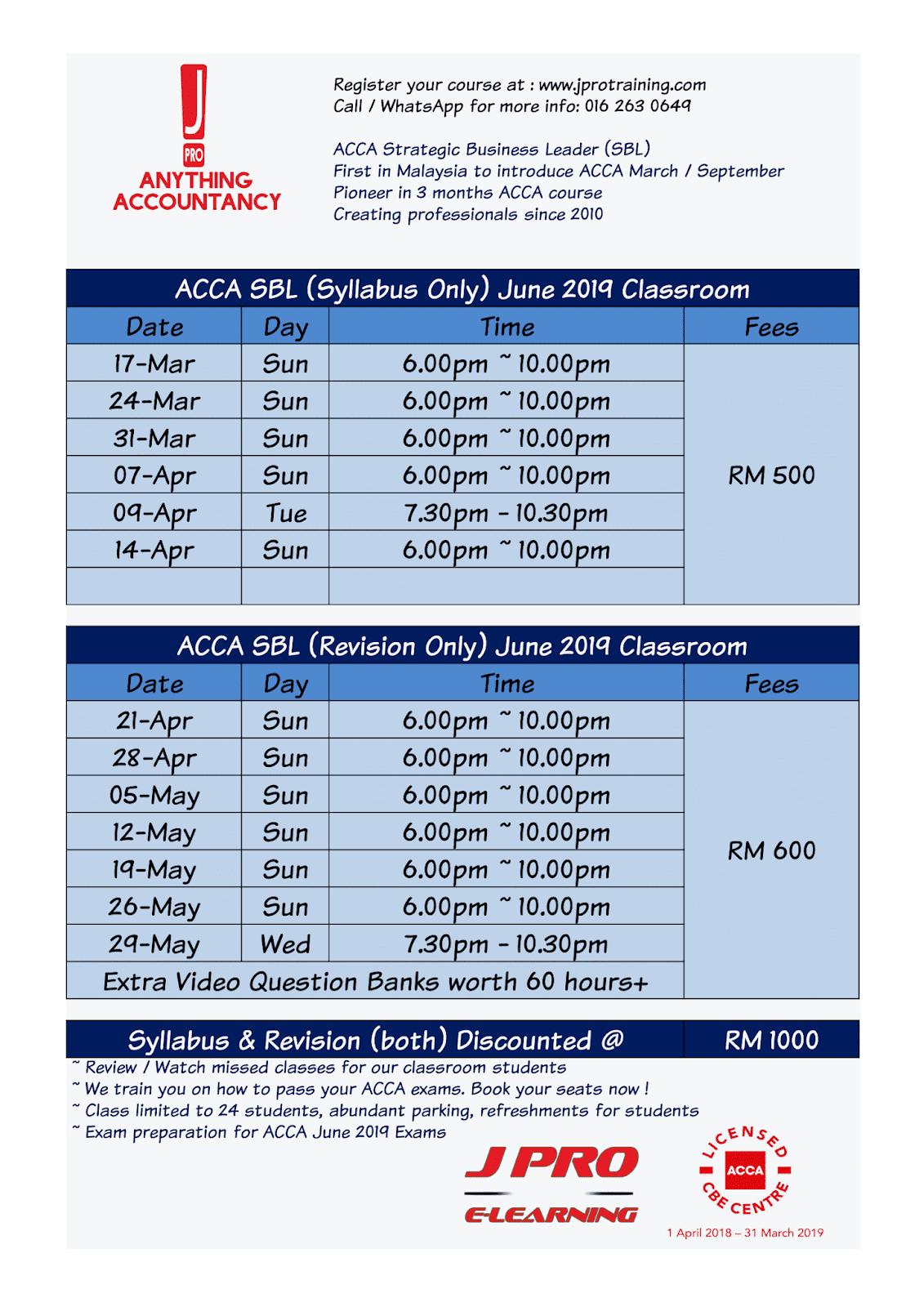 J Pro Business Training: ACCA JUNE 2019 EXAM PREPARATION TIMETABLE