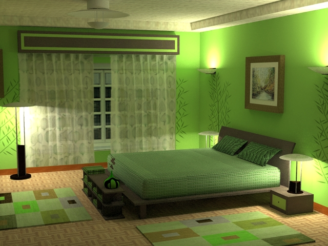 bedroom with warm colored table floor and wall lights