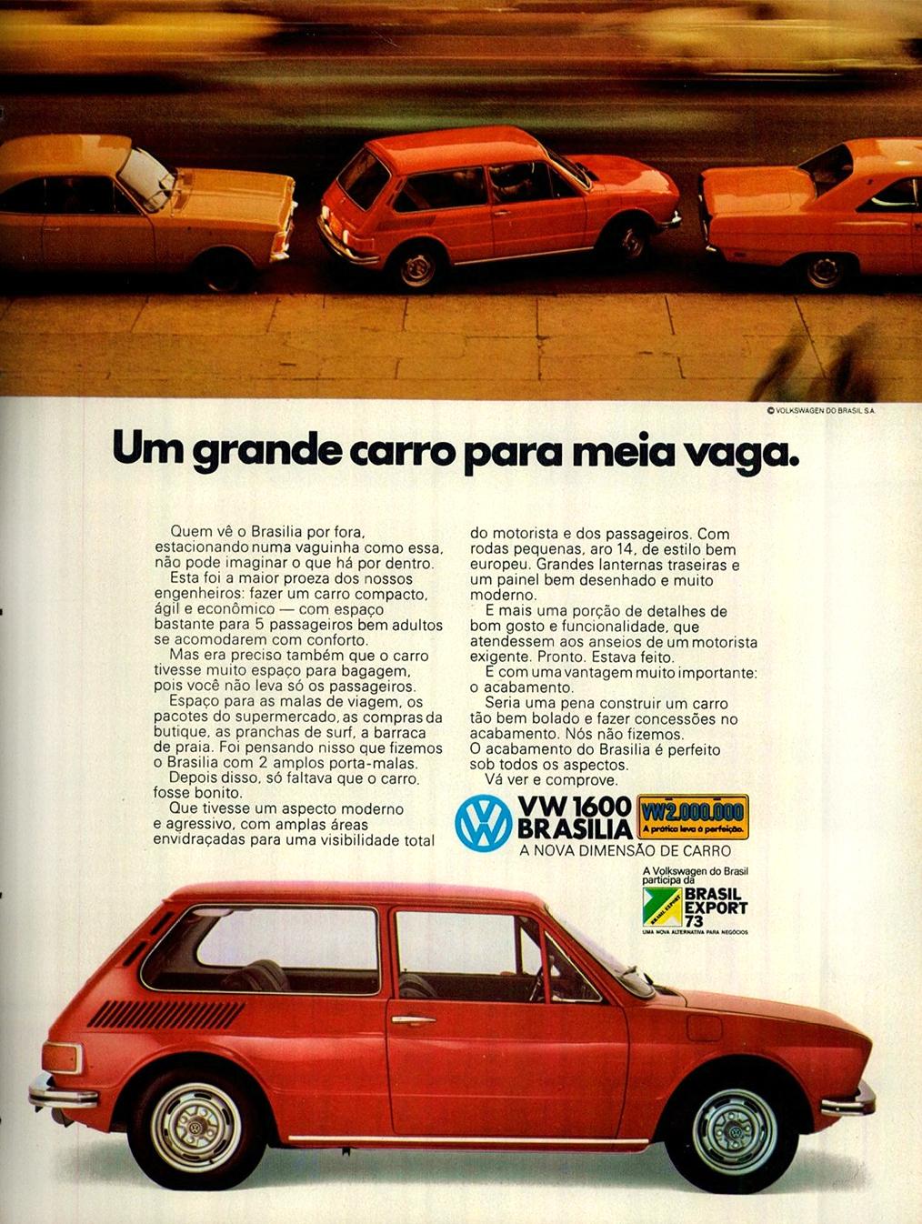 Campanha da Volkswagen em 1973 promovendo a Brasília como o compacto mais potente da época