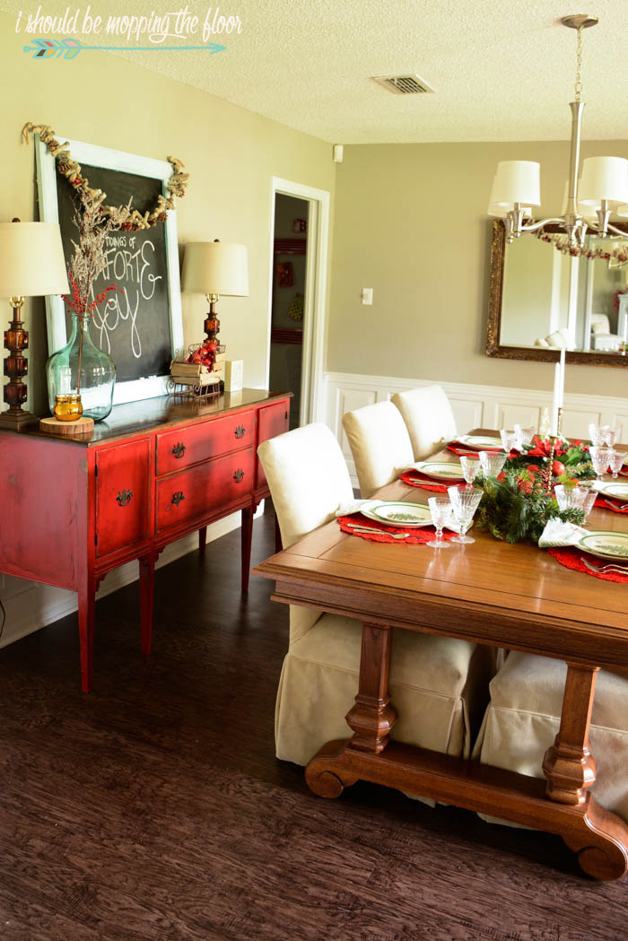 Christmas Home Tour for a 1970s ranch-style home that's been made over in a fun and quirky way!