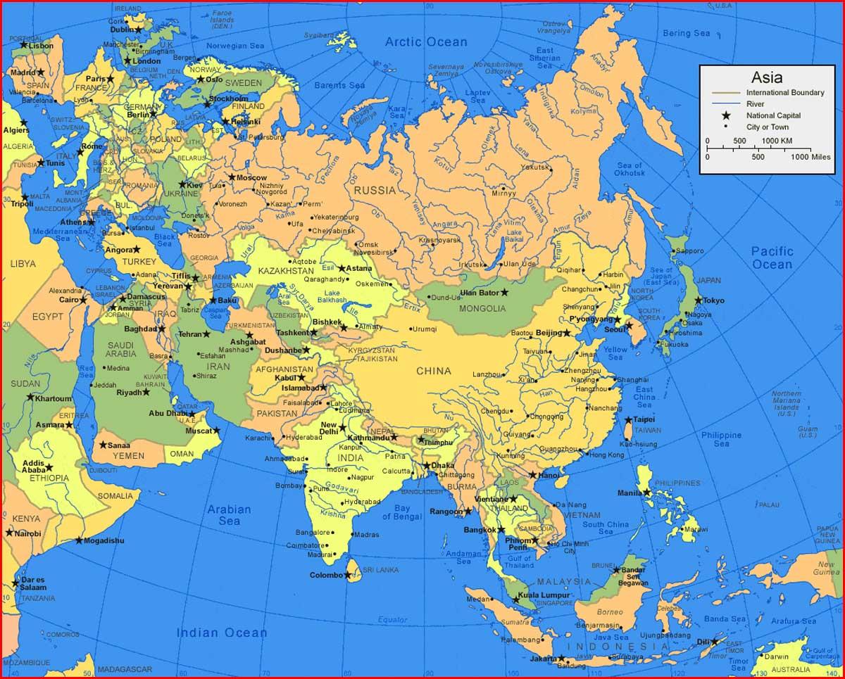 Peta Benua Asia  lengkap