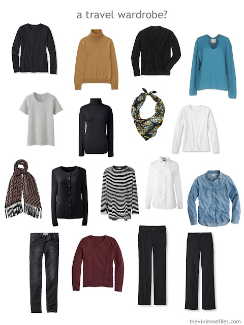a travel capsule wardrobe in black and white with accents of mustard yellow, muted turquoise and wine