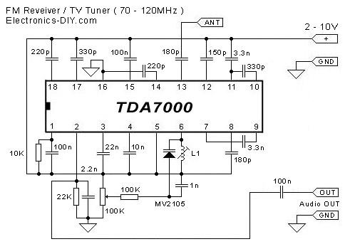 Schematic & Wiring Diagram: FM Receiver / TV Tuner TDA7000
