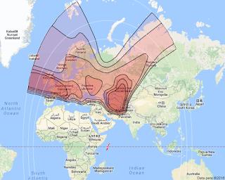 Footprint Satelit TurkmenAlem Monacosat 52.0°E KUBand