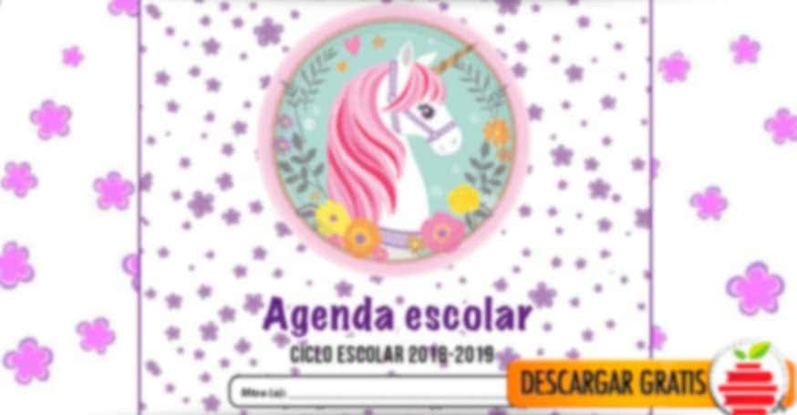 Agenda escolar de Unicornio en formato PDF 2018