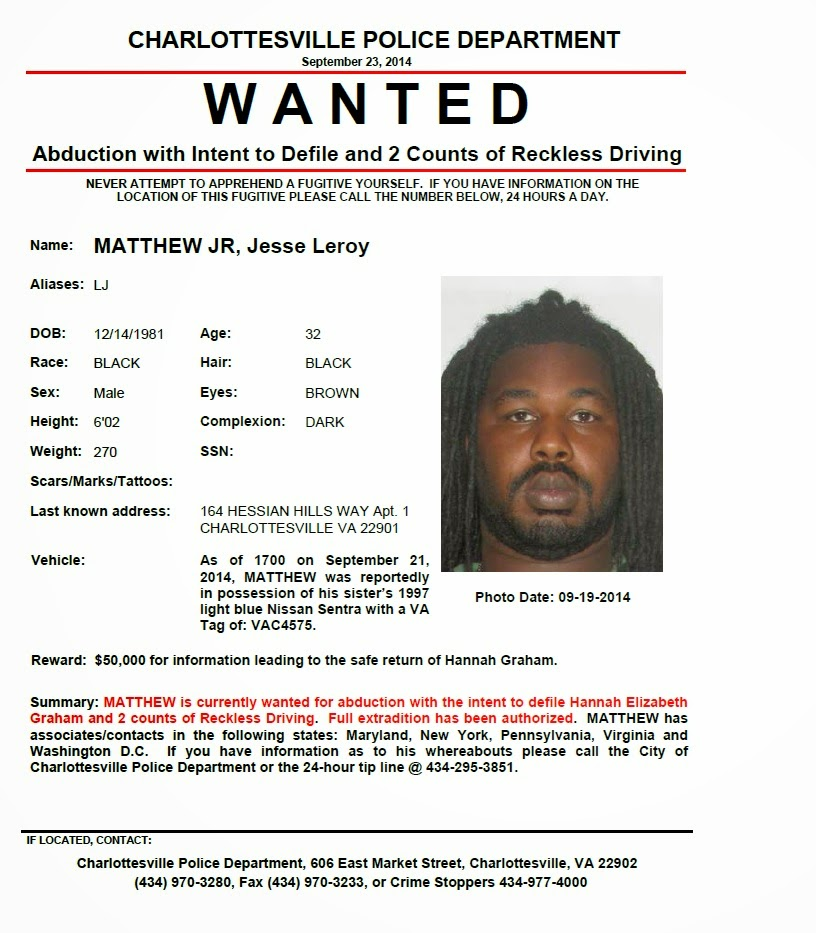 Kidnapping, Murder, and Mayhem Wanted Poster for Jesse Matthew, Jr - criminal wanted poster