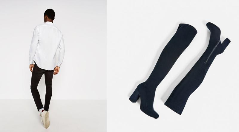 miesten valkoinen paita ja musta ylipolvien saappaat