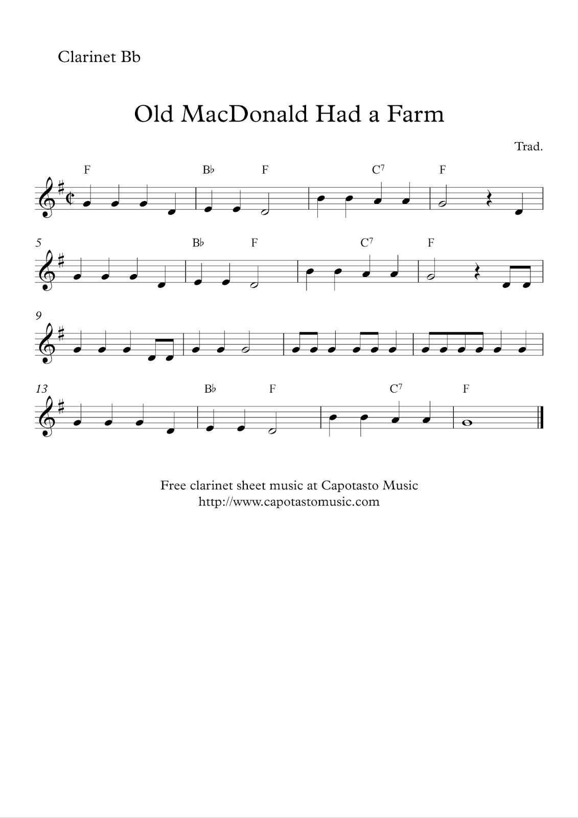 Free Printable Sheet Music Free Easy Clarinet Sheet Music Old Macdonald Had A Farm